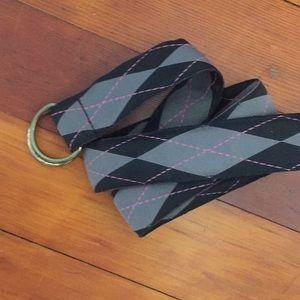 J Crew argyle belt, black & pink - size S/M